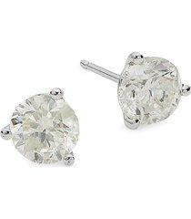 diana m jewels women's 14k white gold & 2 tcw diamond stud earrings