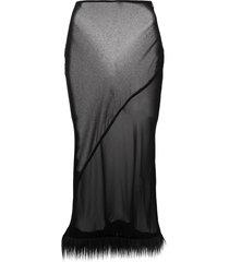 acne studios sheer faux-fur hem skirt - black
