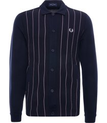 fred perry knitted panel track jacket | navy | j1553-608
