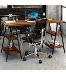 mesa para escritório kuadra 4 prateleiras nogal - compace