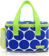 bolsa térmica com compartimento rede na lateral jacki design dots azul