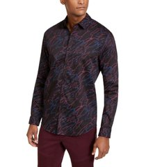 inc men's sylas abstract scribble printed shirt, created for macy's