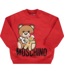 red sweatshirt with teddy bear and marzipan biscuit for baby girl