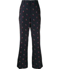 gucci cherry fil coupé bootcut trousers - 4956 blue