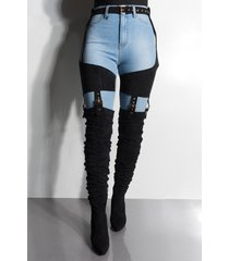 akira azalea wang south loop belted thigh high chap boot in black suede