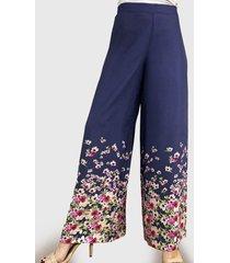 pantalón estampado flores azul liola