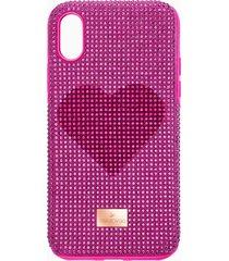 custodia per smartphone con bordi protettivi crystalgram heart, iphoneâ® x/xs, rosa