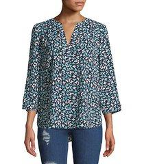 printed split-neck blouse