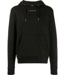 sandro paris contrast logo hoodie - black