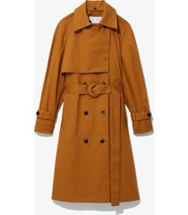proenza schouler white label cotton belted trench coat tobacco/brown s