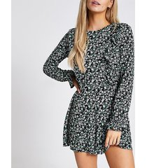 river island womens petite black floral frill front playsuit