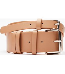 womens make mine a double faux leather belt - nude