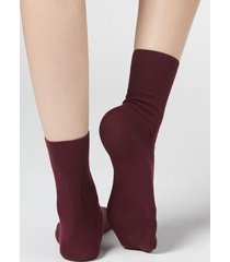 calzedonia short socks in cotton with cashmere woman burgundy size 39-41