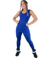 macacã£o mvb modas longo saia tapa bumbum suplex azul - azul - feminino - poliã©ster - dafiti