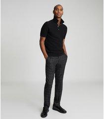 reiss acton - cotton blend polo shirt in black, mens, size xxl