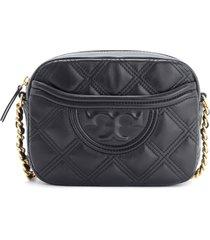 tory burch camera bag fleming soft shoulder bag in black leather