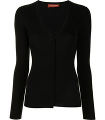 altuzarra elodie ribbed knit cardigan - black