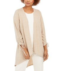 ny collection open-front drawstring-cuff cardigan