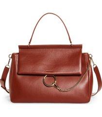chloe large faye day leather shoulder bag - brown