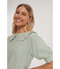 na-kd boho big collar blouse - green