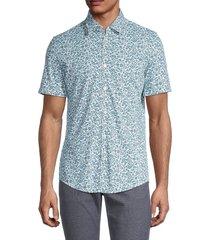 boss hugo boss men's short sleeve floral button-front shirt - green - size m