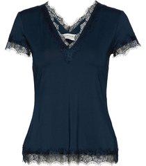 t-shirt ss blouses short-sleeved blå rosemunde