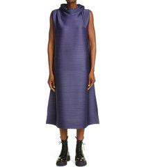 women's pleats please issey miyake cantabile pleated dress, size 3 - blue