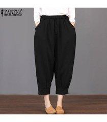 zanzea loose women básico de cintura alta pantalones capris cosechado más el tamaño de los pantalones -negro