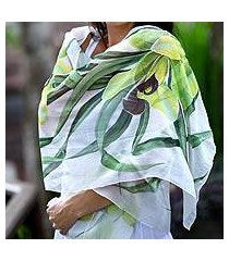 hand painted silk shawl, 'green orchid' (indonesia)