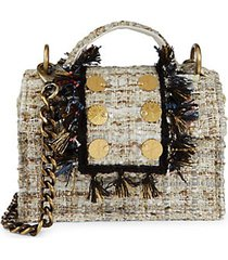 mini petite tweed fringe-trim crossbody bag