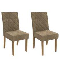 conjunto 2 cadeiras estofadas kappesberg cad133 freijó e caramelo