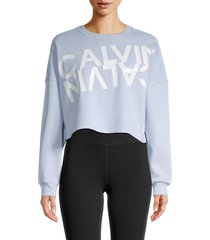 calvin klein women's graphic cotton-blend cropped top - skydiver - size xl