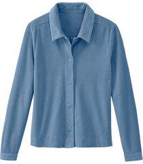 blouse van geribde jersey van bio-katoen, jeansblauw 40