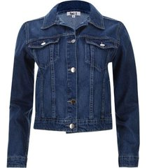 chaqueta denim  mujer clásica color azul, talla 6