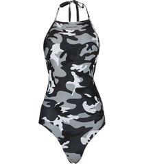 halter camouflage print swimsuit