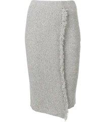 cashmere in love envelope fringed skirt - grey