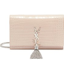 'kate' chain crocodile leather wallet crossbody bag