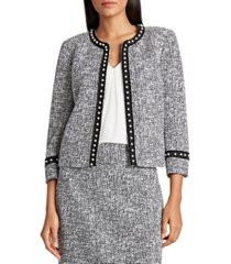 tahari asl pearl-trim tweed jacket