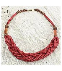 braided bead necklace, 'sosongo in red' (ghana)