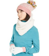 betsey johnson 3-pc. funshine gloves, hat & scarf set