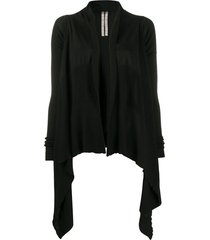 rick owens draped waterfall cardigan - black