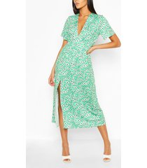 lange midi-jurk met bloemenprint, groen