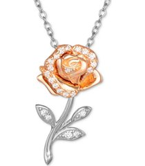 "disney cubic zirconia beauty and the beast belle rose 18"" pendant necklace in sterling silver & 18k rose gold-plate"