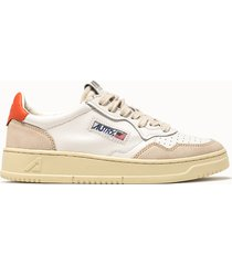sneakers autry low colore bianco arancione