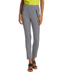 rag & bone women's simone zip pocket gingham pants - black - size 0