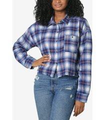 ultra flirt juniors' frayed plaid shirt