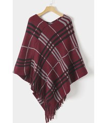 red check tassel details shawl cloak knit top