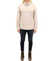mountain and isles women's jersey knit fleece diamond-quilted detail cowl neck pullover
