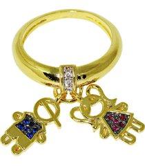anel infine berloque filhos casal menino e menina com zircônia banhado a ouro