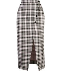 high-waist plaid skirt